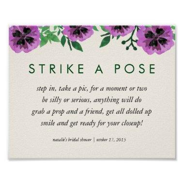 Photo Booth Poster Sign | Purple Pansy