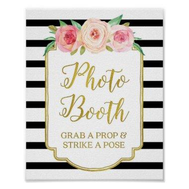 Photo Booth Sign Pink Gold Black White Stripes
