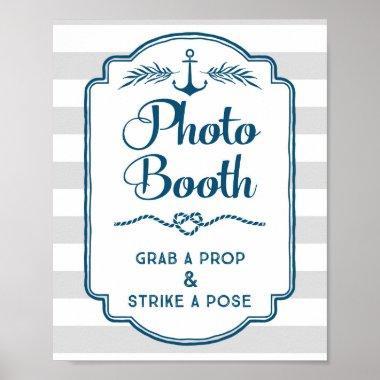 Photo Booth Wedding Sign Blue Nautical Stripes