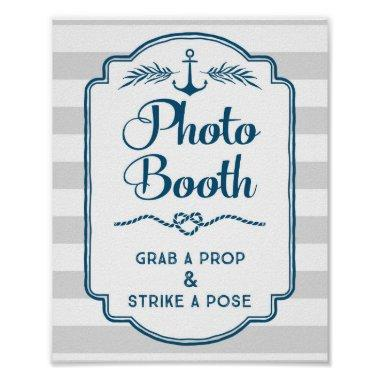 Photo Booth Wedding Sign Blue Nautical Stripes Poster