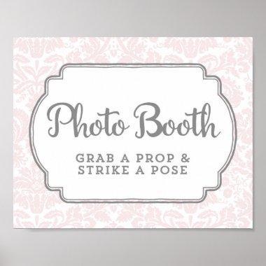 Photo Booth Wedding Sign Blush Pink Vintage Damask