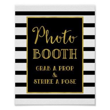 Photo Booth Wedding Sign Gold Black Stripes Poster
