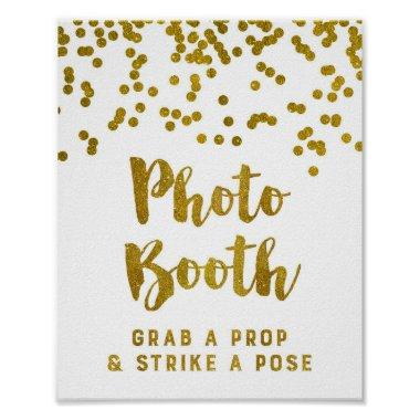 Photo Booth Wedding Sign Gold Confetti Poster