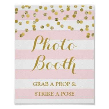Photo Booth Wedding Sign Pink Stripe Gold Confetti