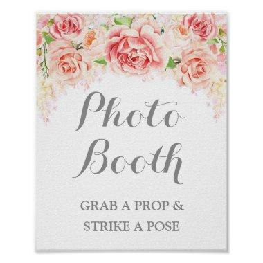 Photo Booth Wedding Sign Pink Watercolor Floral