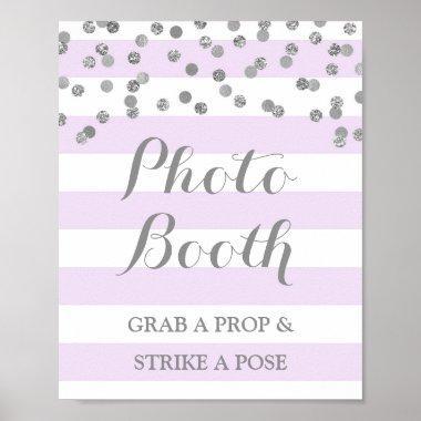 Photo Booth Wedding Sign Purple Silver Confetti