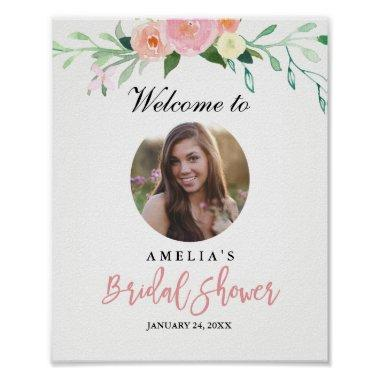 Photo Bridal Shower Welcome Sign Botanical Poster