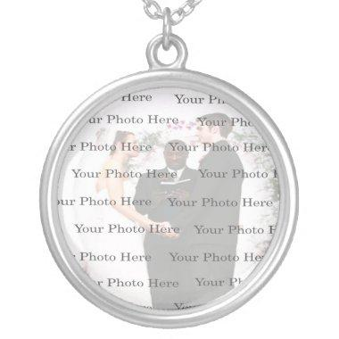Photo Custom Round Silver Wedding Necklace