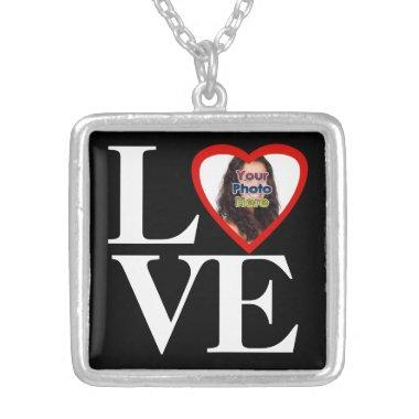 Photo Heart Frame LOVE Black and White with Red Silver Plated Necklace