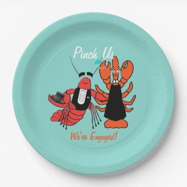 Pinch Us Engagement Crayfish Boil Shower Party Paper Plate