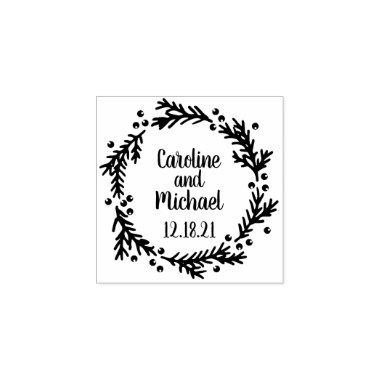 Pine and Berries Rustic Wreath | Wedding Rubber Stamp