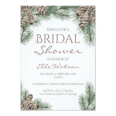 pine cone bridal shower invitations winter wedding invitations