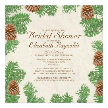 Pine Cones Bridal Shower Invitations