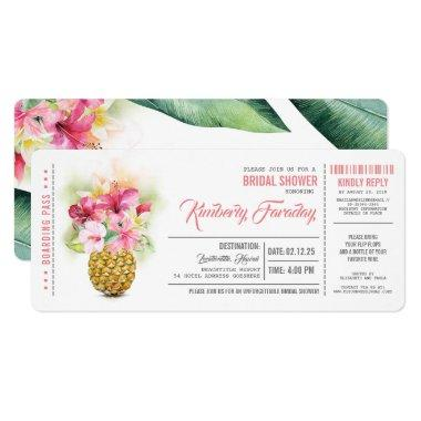 Pineapple Beach Boarding Pass Ticket Bridal Shower Invitations