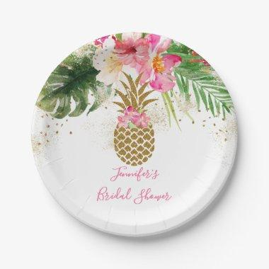 Pineapple Tropical Floral Bridal Shower Paper Plate