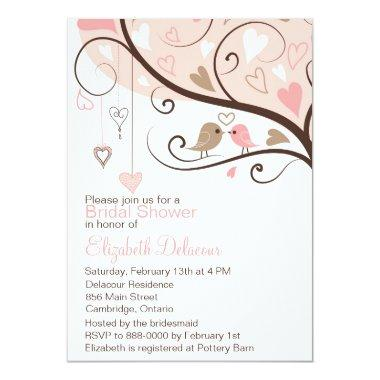 Pink and Brown Love Birds Bridal Shower Invitations