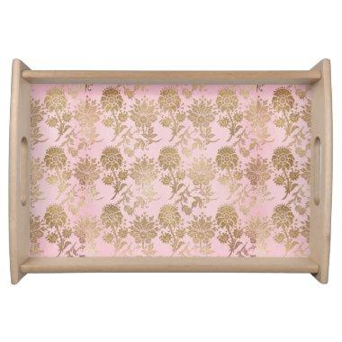 Pink and Gold Floral Serving Tray