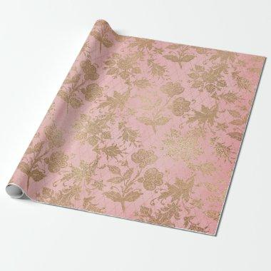 Pink and Gold Lace Gift Wrapping Paper