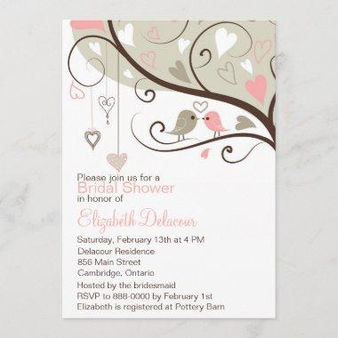 Pink and Gray Love Birds Bridal Shower Invitations