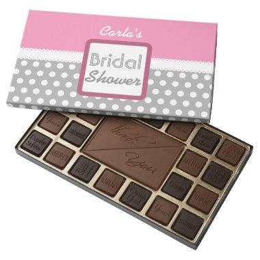 Pink and Gray Polka Dot Theme Bridal Shower D03 Assorted Chocolates