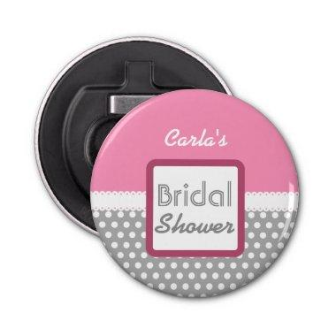 Pink and Gray Polka Dot Theme  D03 Bottle Opener