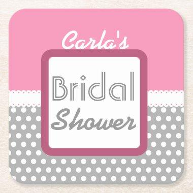 Pink and Gray Polka Dot Theme Bridal Shower D03 Square Paper Coaster