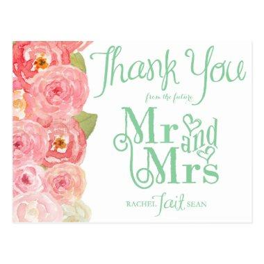 Pink and Green Floral  Thank You Post