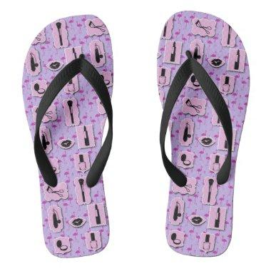 Pink and Purple Cosmetics makeup Flip Flops