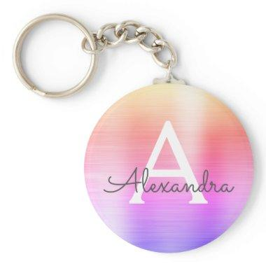 Pink and Purple Faux Stainless Steel Monogram Keychain