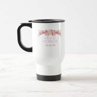 Pink and Purple Floral Maid of Honor Travel Mug