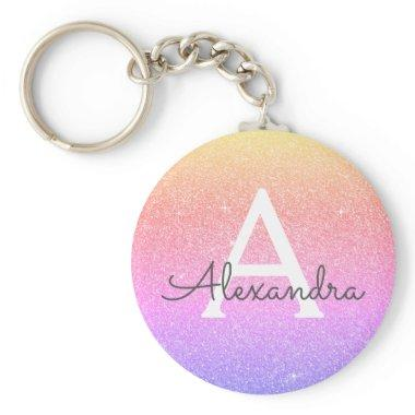 Pink and Purple Glitter & Sparkle Monogram Favor Keychain