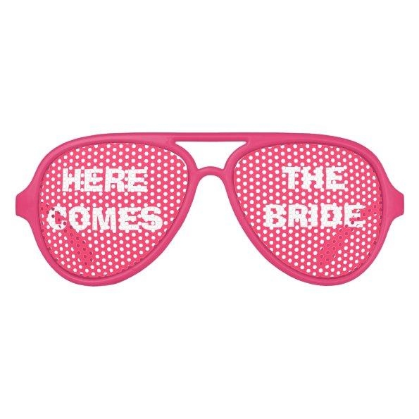 Pink and White Bride's Party Eye Glasses Aviator Sunglasses