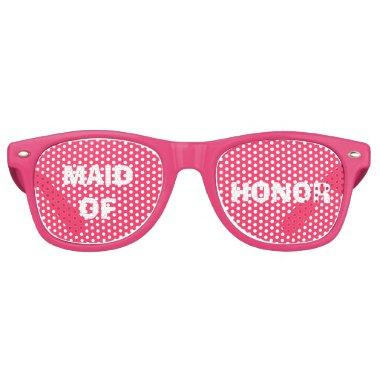 Pink and White Maid of Honor Party Eye Glasses
