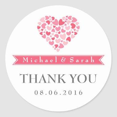 Pink and White Small Hearts Wedding Favor Sticker