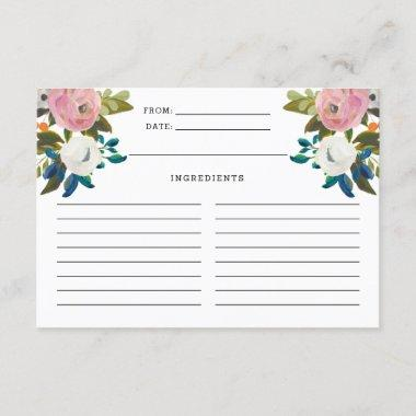 Pink and White Turquoise Floral Blooms Recipe Invitations