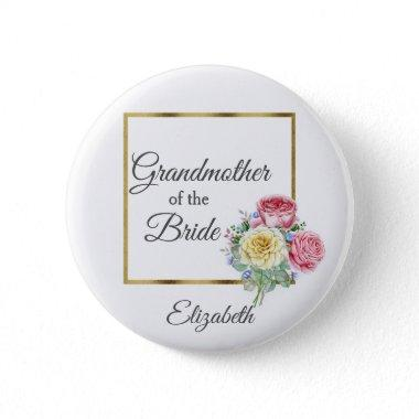 Pink and Yellow Floral Grandmother of the Bride Button