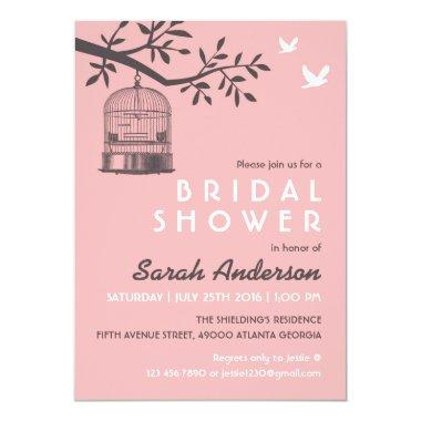 Pink Bird Cage Rustic Bridal Shower Invitations