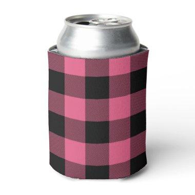Pink & Black Checkered Squares Buffalo Plaid Can Cooler