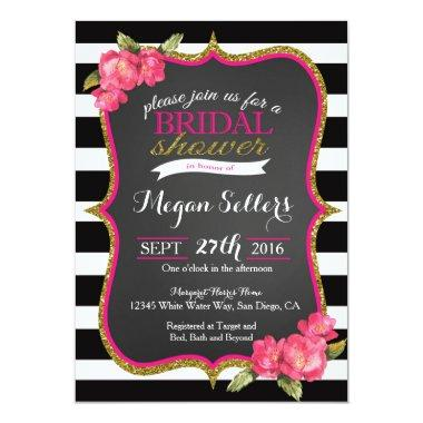 PInk black white Bridal shower Invitations