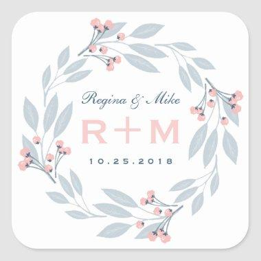 Pink Blue Leaf Floral Wreath Wedding Favor Sticker