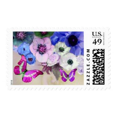 PINK BLUE ROSES,ANEMONE FLOWERS AND BUTTERFLIESBL POSTAGE