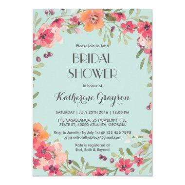 Pink Blue Vintage Flower Bridal Shower Invitations