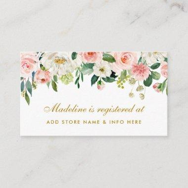 Pink Blush Bridal Shower Gold Registry Insert Card