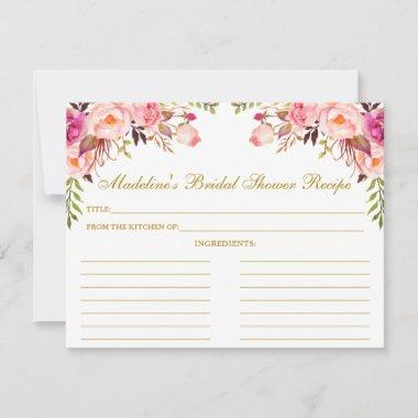 Pink Blush Floral Bridal Shower Gold Recipe Invitations