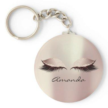 Pink Blush Girly Makeup Lashes Name Blush Keychain