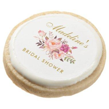 Pink Blush Gold Floral Bridal Shower Round Shortbread Cookie
