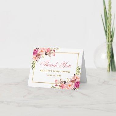 Pink Blush Gold Floral Bridal Shower Thanks Note P Thank You Invitations