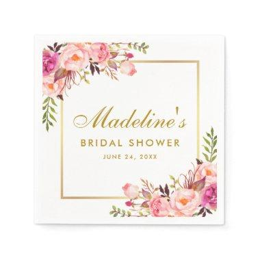 Pink Blush Gold Frame Floral Bridal Shower Napkin