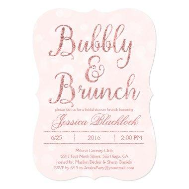 Pink Bubbly and Brunch Bridal Shower Invitations