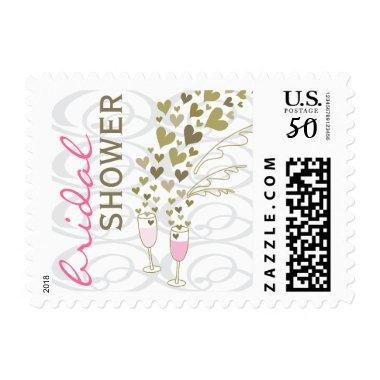 Pink Champagne Cheers Hearts  Stamps